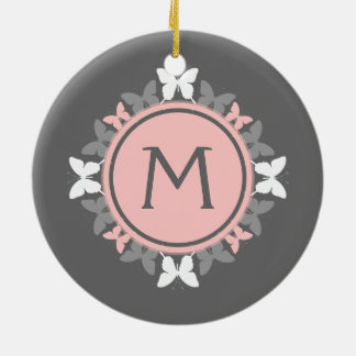 Butterfly Wreath Monogram White Rose Pink Gray Christmas Ornament