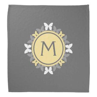 Butterfly Wreath Monogram White Yellow Gray Kerchief