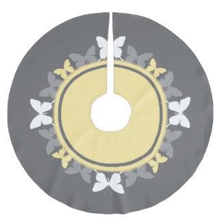 Butterfly Wreath White Yellow Gray Brushed Polyester Tree Skirt