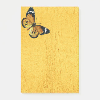Butterfly yellow post-it notes