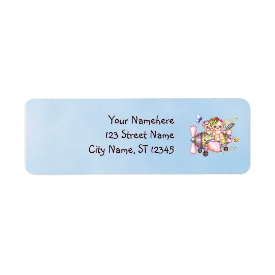 Butterflying Bears Pixel Art Return Address Label