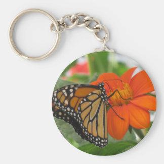 Butterly on Orange Flower Basic Round Button Key Ring