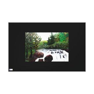 Buttermilk Falls On Black Canvas Print