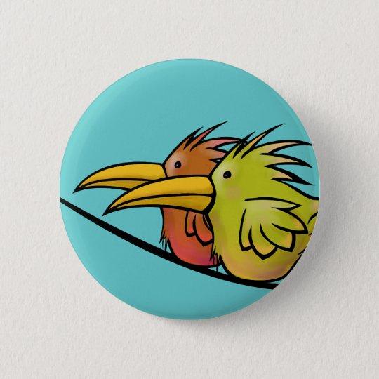 Button, 2 Birds on a Wire 6 Cm Round Badge