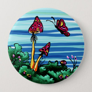 Button, 2 Red Mushrooms 10 Cm Round Badge