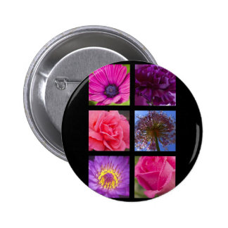 Button Badge - Pink Purple Flowers