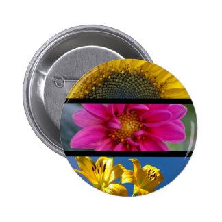 Button Badge - Pink & Yellow Macro Flowers