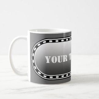 BUTTON BANNER black grey gradient + your text Basic White Mug