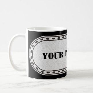 BUTTON BANNER grey black gradient + your text Coffee Mug