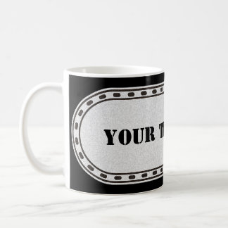 BUTTON BANNER grey black gradient + your text Coffee Mugs