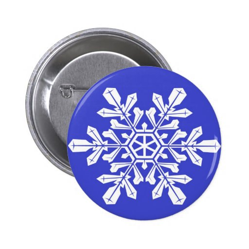 Button Blue Snowflake