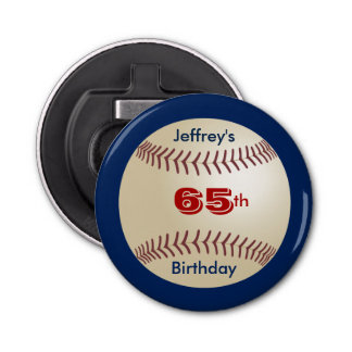 Button Bottle Opener Baseball Party Favor 65th