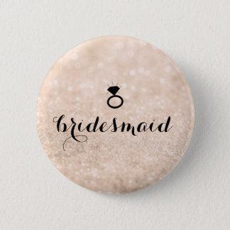 Button - Bridesmaid Glitter Ring Bling Peach