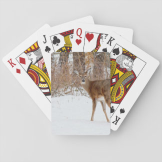 Button Buck Deer in Winter White Snowy Field Playing Cards