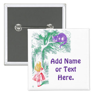 """Button: """"Cheshire Cat"""" from """"Alice in Wonderland"""" 15 Cm Square Badge"""