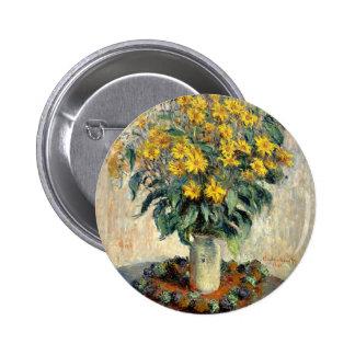 Button, Claude Monet Jerusalem Artichoke Flowers 6 Cm Round Badge