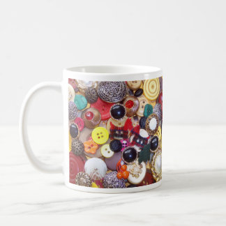 Button Collage with Plaid Scottie Dogs Coffee Mugs