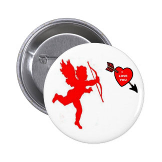 Button Cupid and Heart Red