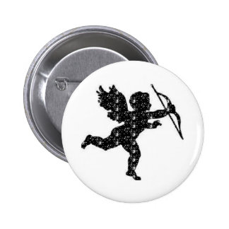 Button Cupid Black Glitter