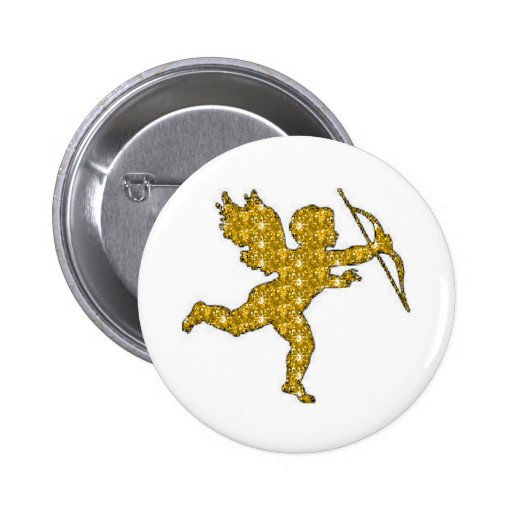 Button Cupid Gold Glitter