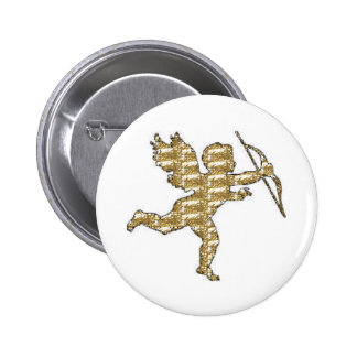 Button Cupid Gold Ribbed