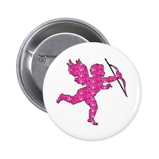 Button Cupid Pink Glitter