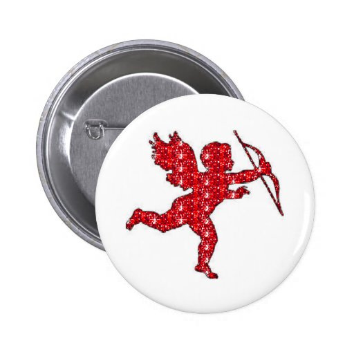 Button Cupid Red Glitter
