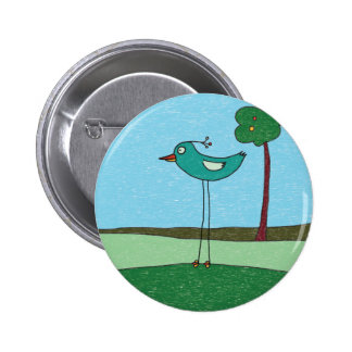 Button, Cute bird and tree 6 Cm Round Badge
