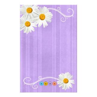 Button Daisy Purple Stationery