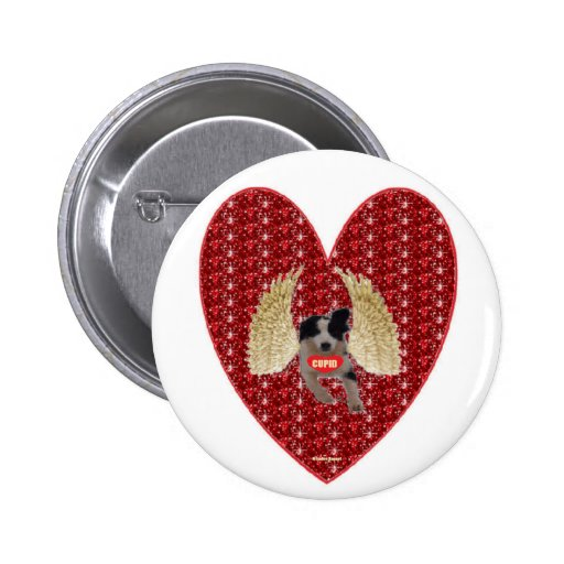 Button Dog Cupid Red Heart Glitter