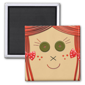 Button Eyes Rag Doll Magnet 2 Inch Square Magnet
