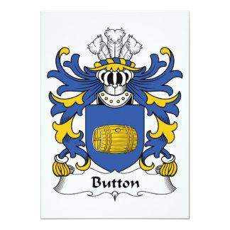 """Button Family Crest 5"""" X 7"""" Invitation Card"""