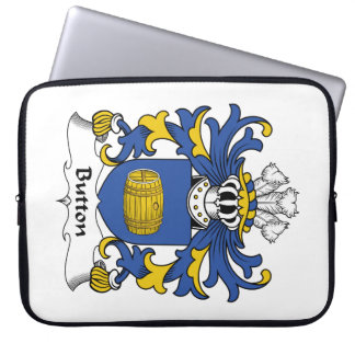 Button Family Crest Laptop Computer Sleeve