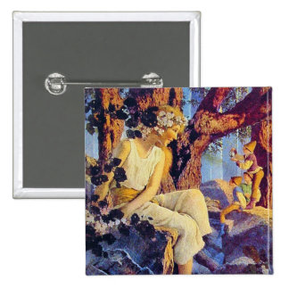 Button: Girl with Elves - by Maxfield Parrish 15 Cm Square Badge