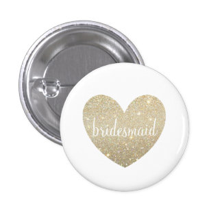 Button - Gold Heart Fab bridesmaid