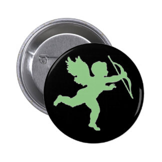 Button Green Cupid On Black