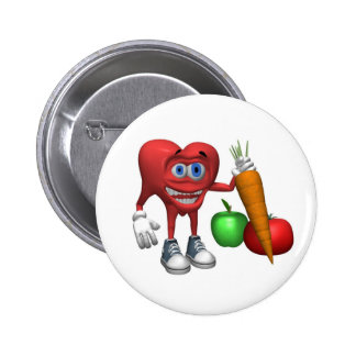 Button-Health Heart Fruits and Veggies 6 Cm Round Badge