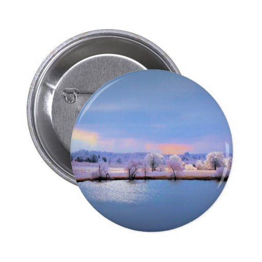 Button, Icy Pond and Willows in Pastel Colors