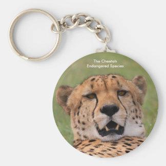 Button Key Ring -Cheetah face plus text