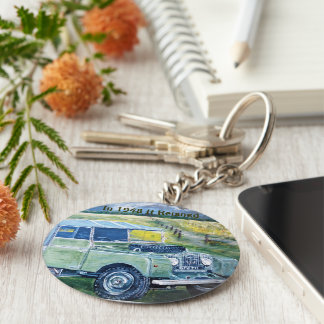 Button Key Ring With Land Rover Print Keychain