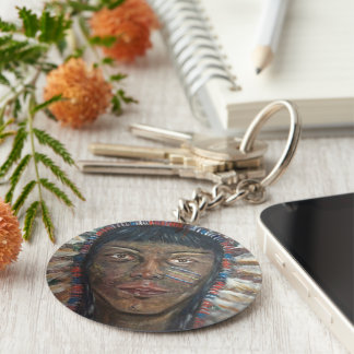 Button Key Ring With Native American Print