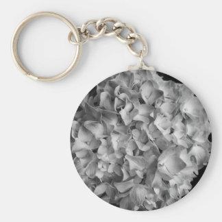 Button Keychain Hydrangea Black & White