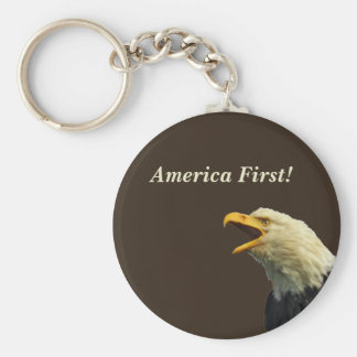 "Button Keychain with eagle ""America First"""