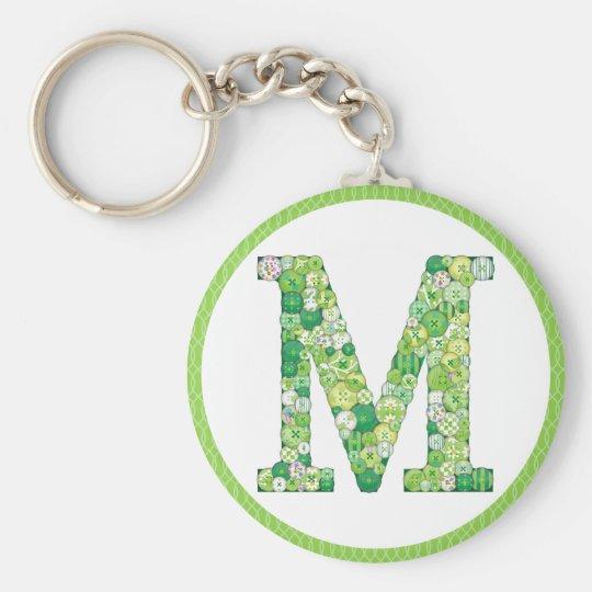 Button Letter M Key Chain