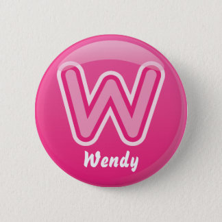 Button Letter W Pink Bubble