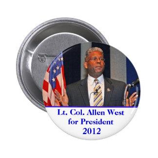 Button, Lt. Col. Allen West for President 2012 6 Cm Round Badge