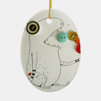 button monster ceramic oval decoration