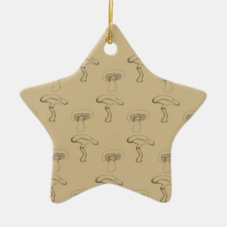 Button mushroom ceramic star decoration
