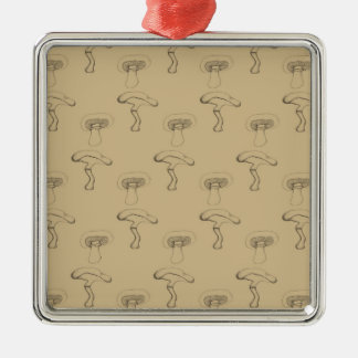 Button mushroom christmas ornament