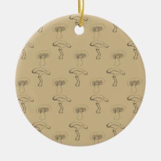Button mushroom round ceramic decoration